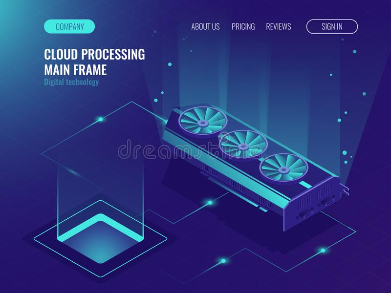 Data processing, computing power, mainframe service, data flow, internet data share ultraviolet isometric vector royalty free illustration