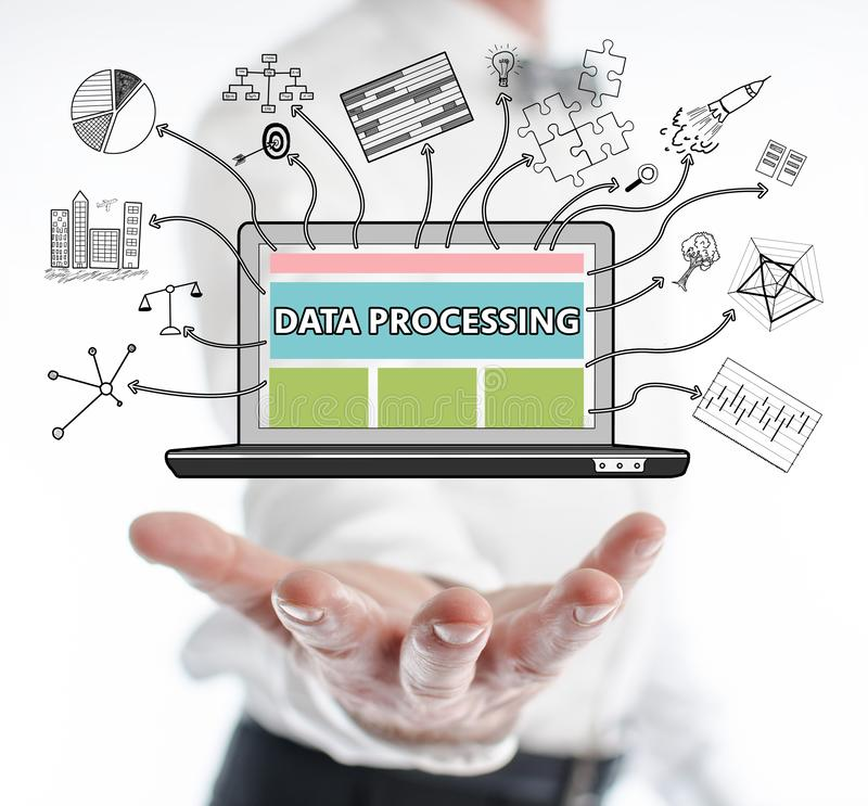 Data processing concept levitating above a hand. Of a man royalty free stock image