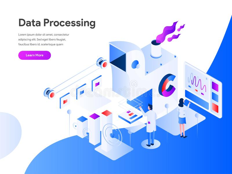 Data Processing Isometric Illustration Concept. Modern flat design concept of web page design for website and mobile website. vector illustration