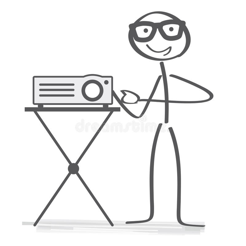 Data Projector presentation. Stick figure switching on a projector for slides or digital images for a presentation stock illustration