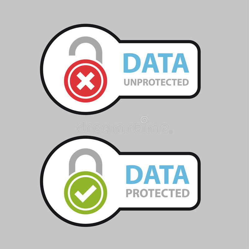 Free Data Protected Unprotected Safety Icon Symbol Stock Photo - 89625930