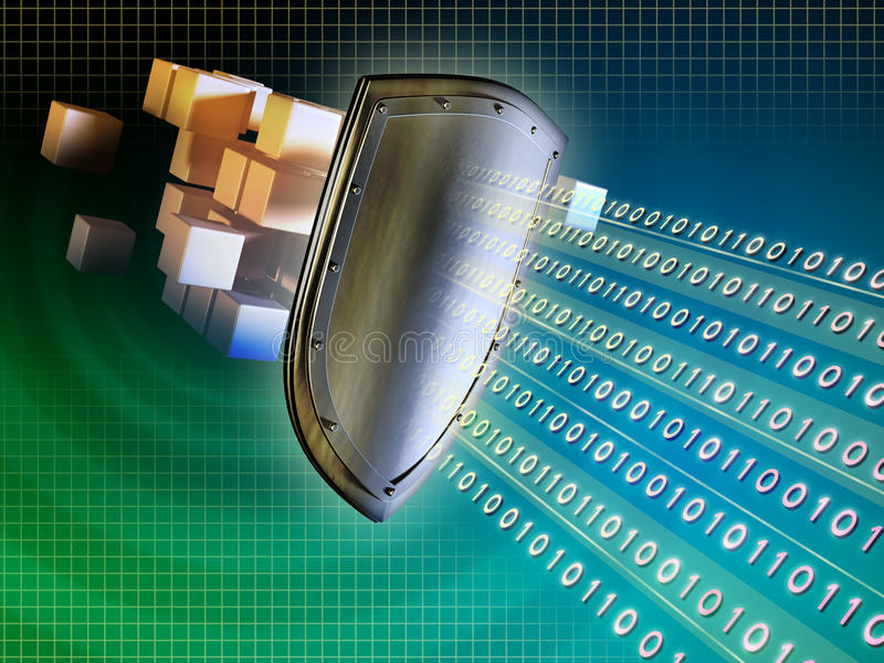 Data protection. Metal shield protecting valuable data from external intrusions. Digital illustration