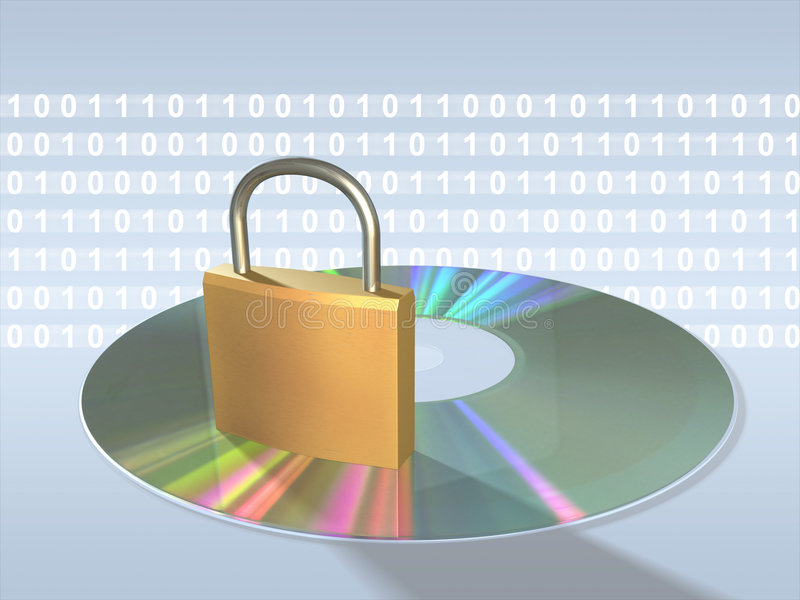Data protection. Protecting sensitive data. Keylock, cd and data stream. Digital illustration royalty free illustration