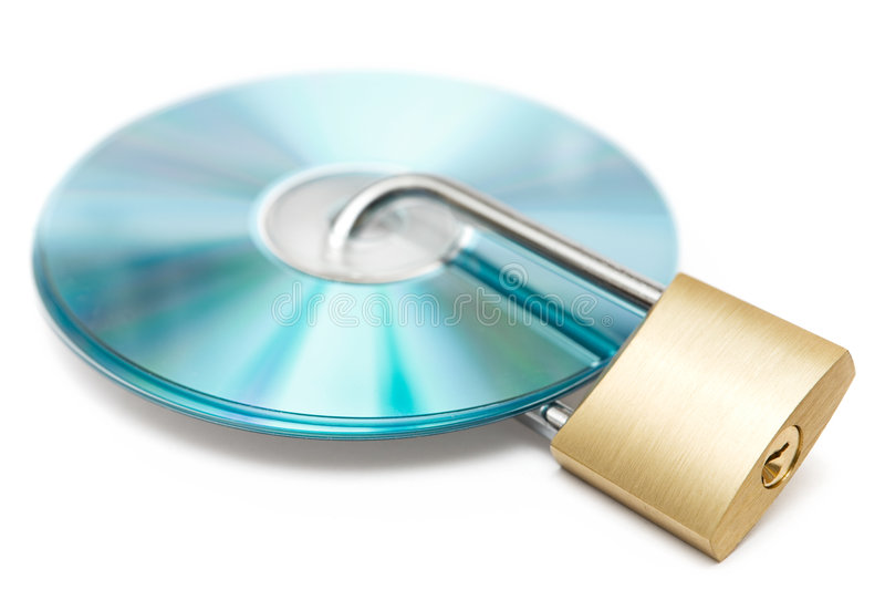 Data Protection. Locked CDs isolated on a white background