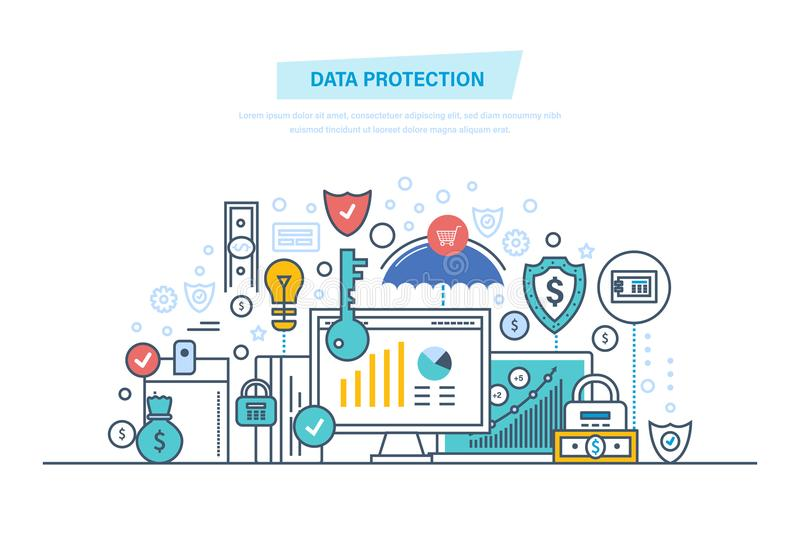 Data protection, antivirus software, privacy. Safe confidential information. Security finance. Data protection, internet security, antivirus software and vector illustration