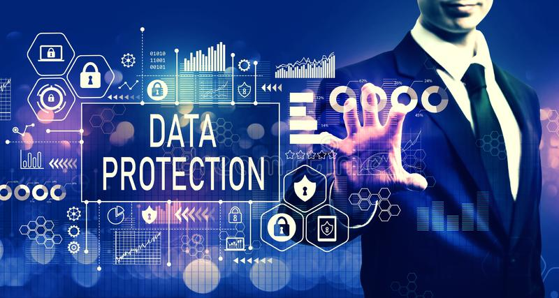 Data protection concept with businessman stock image