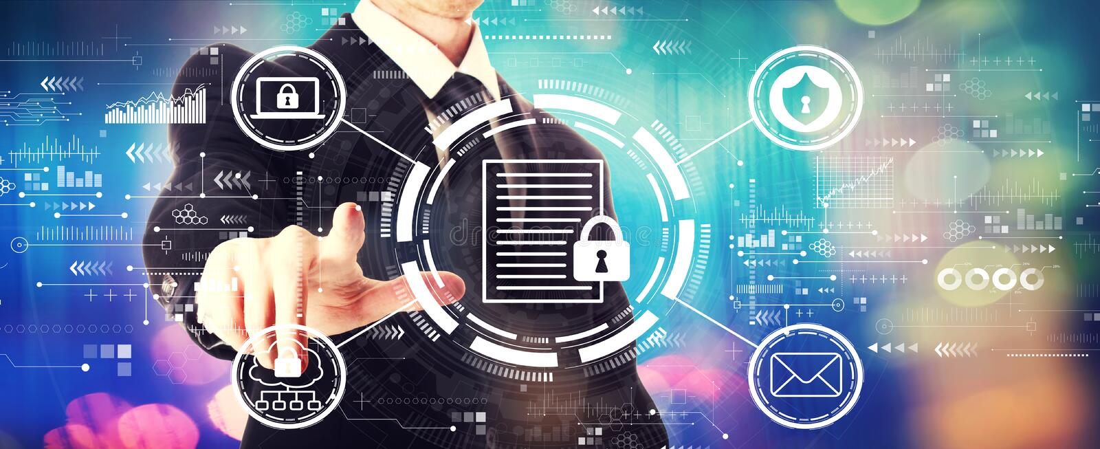 Data protection concept with a businessman stock photo