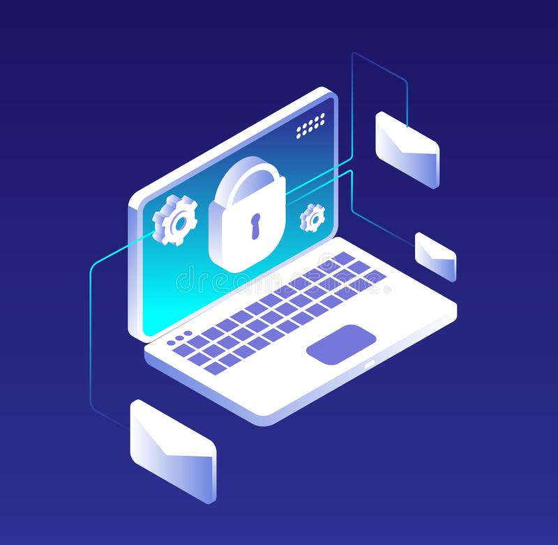Data protection concept. Email database encryption, computer, information and storage security. Antivirus and vpn vector royalty free illustration