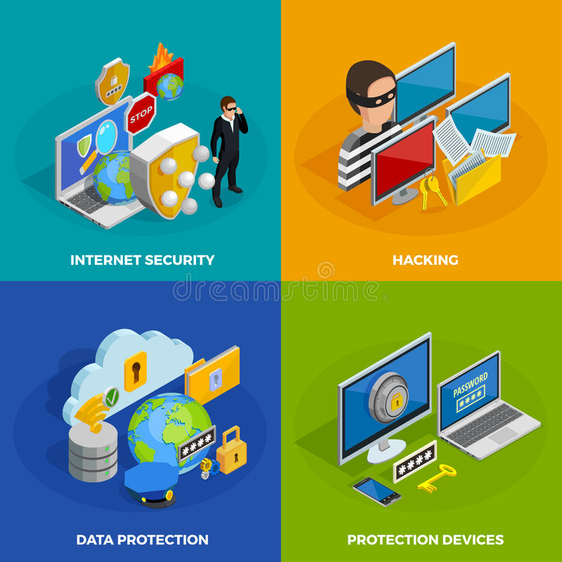 Data Protection Concept Icons Set royalty free illustration