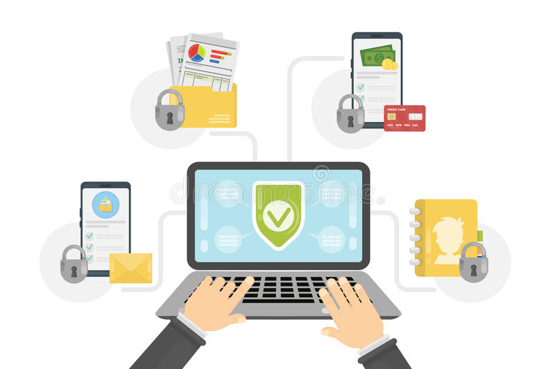 Data protection concept. Laptop with files connection. Shiled sign vector illustration