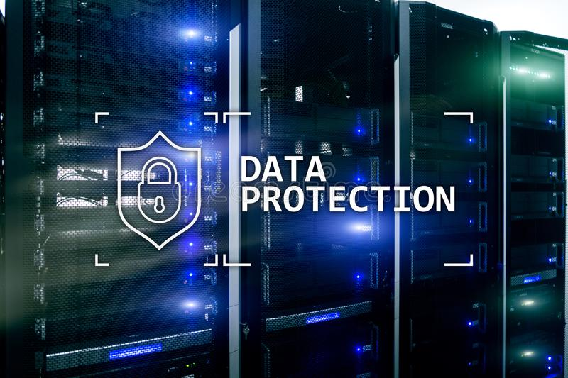 Data protection, Cyber security, information privacy. Internet and technology concept. Server room background.  royalty free illustration