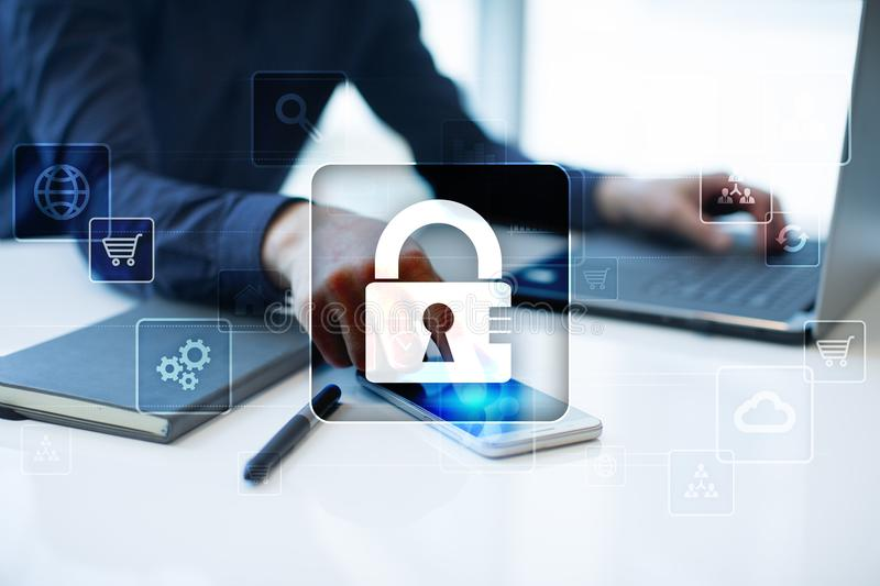 Data protection, Cyber security, information safety and encryption. internet technology and business concept. royalty free stock images