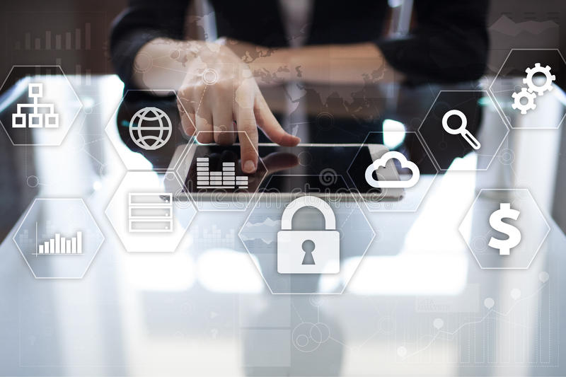 Data protection, Cyber security, information safety. technology business concept. Data protection, Cyber security, information safety and encryption. internet royalty free stock photo