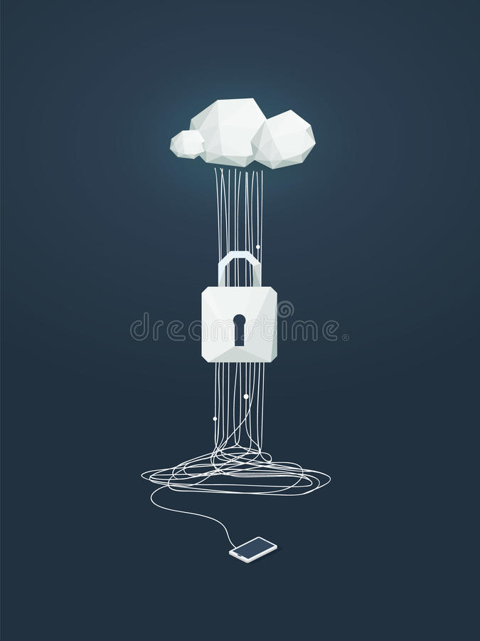 Data protection and cyber security vector concept. Symbol of lock and cloud computing technology as protection from stock illustration
