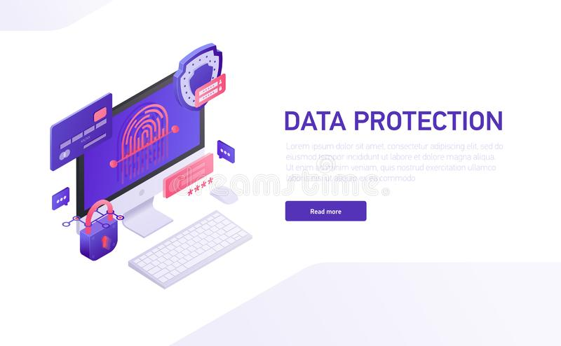 Data protection 3d isometric template of e-commerce site, home page vector design. Data safety isometric icons, shield royalty free illustration