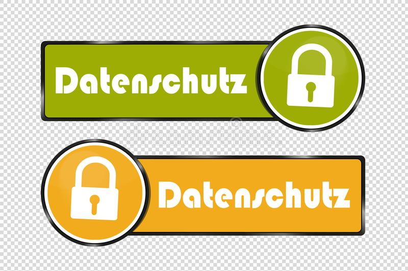 Data Protection German Square And Circle Buttons - Vector Illustration - Isolated On Transparent Background vector illustration