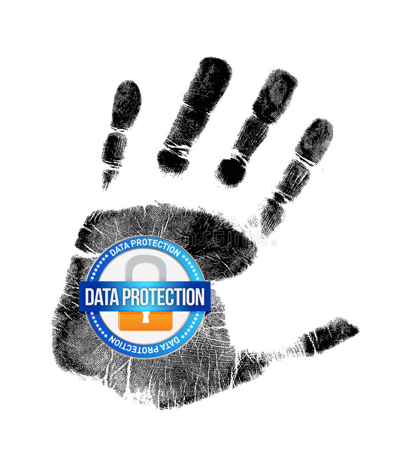 Data protection and handprint illustration design stock illustration