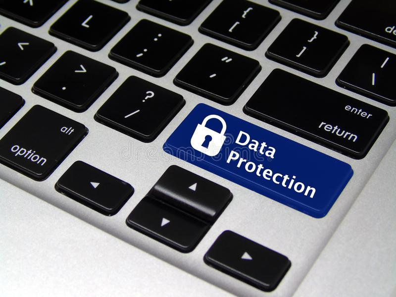 Data Protection - Laptop Button royalty free stock image