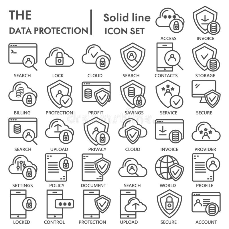 Data protection line icon set, computer safety symbols collection, vector sketches, logo illustrations, server protect. Signs linear pictograms package isolated vector illustration