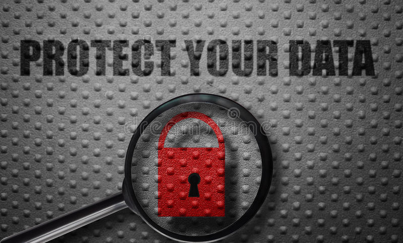 Data protection magnified. Red lock magnified with Protect Your Data text on metal background stock image