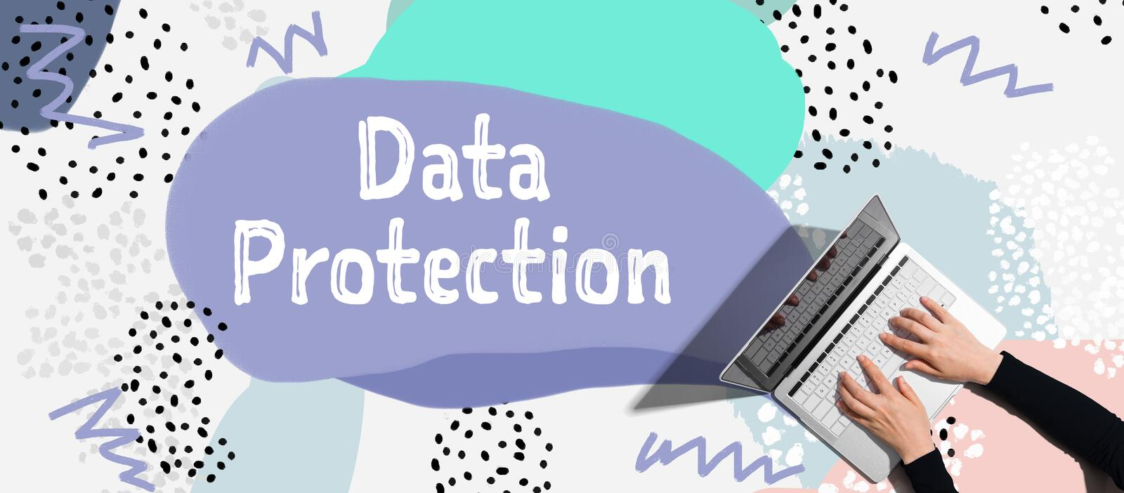 Data protection with person using laptop. Data protection with person using a laptop computer vector illustration