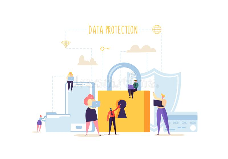 Data Protection Privacy Concept. Confidential and Safe Internet Technologies with Characters Using Computers and Gadgets. Data Protection Privacy Concept vector illustration