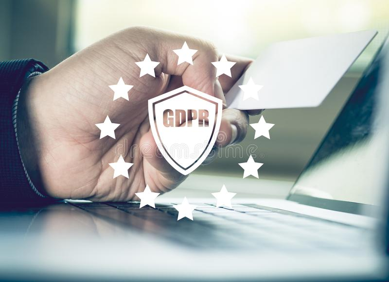 Data protection privacy concept. GDPR. EU. Cyber security network. Business man protecting data personal information on laptop stock photography