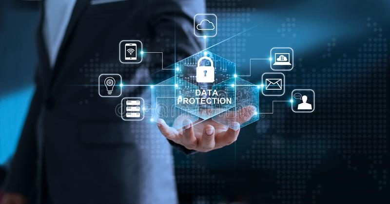 Data protection privacy, GDPR. EU. Cyber security network stock images