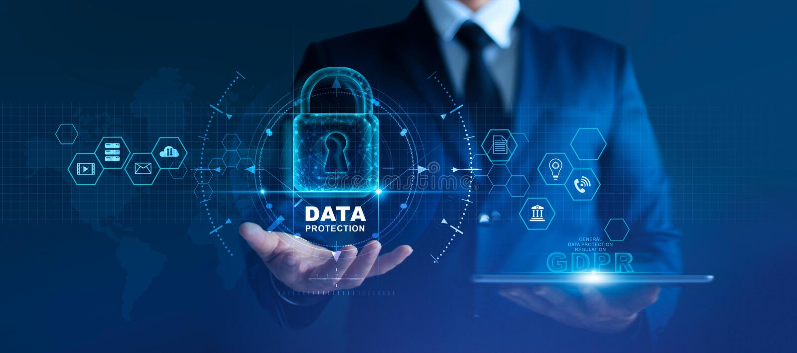 Data protection privacy concept. GDPR. EU. Cyber security network. Business man protecting data stock image