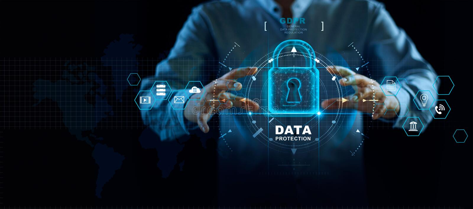 Data protection privacy concept. GDPR. EU. Cyber security network. Business man protecting data personal information stock photo