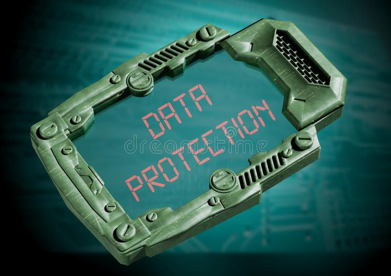Data Protection Security Concept. futuristic sci-fi communicator with transparent screen. 3D rendering vector illustration