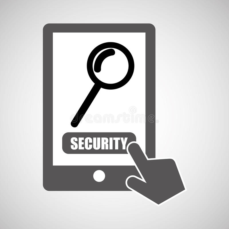 Data protection smartphone searching security vector illustration