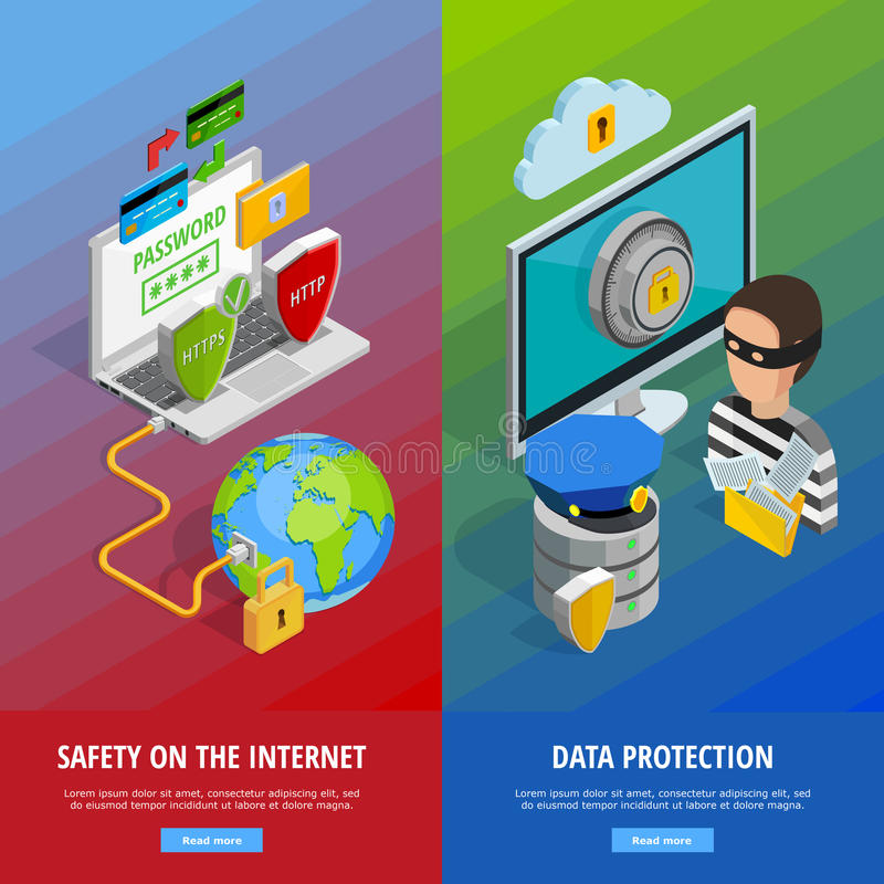 Data Protection Vertical Banners Set royalty free illustration