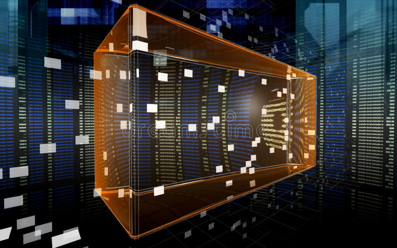 Data rectangle in the cyberspace 3 stock illustration