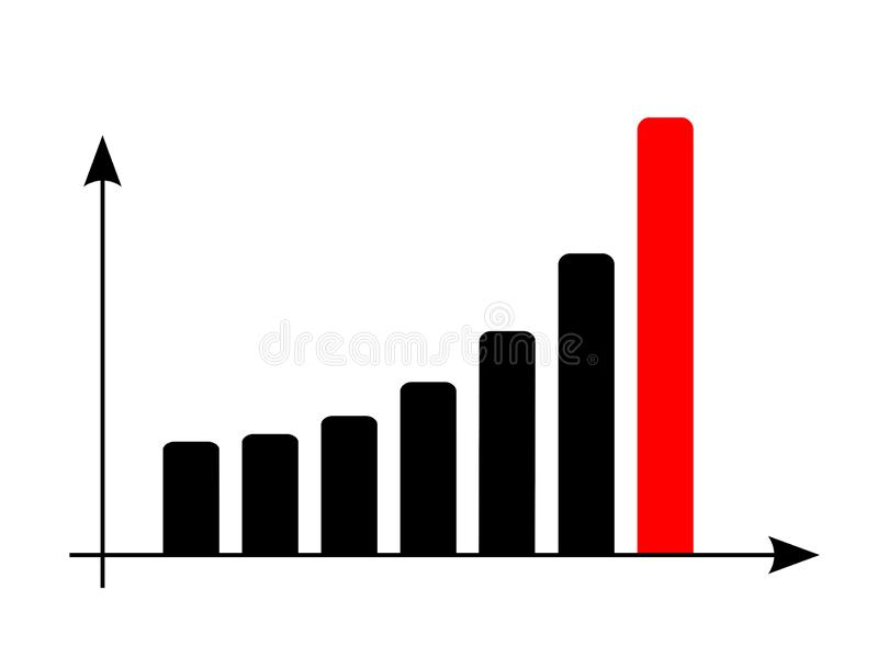 Data report bar graph Grow or success profit diagram concept. Isolated vector illustration