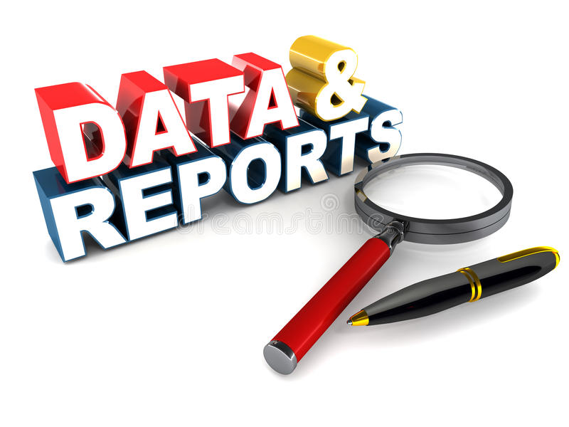 Data and reports. Reports and data MIS concept, word with magnifying glass and pen vector illustration