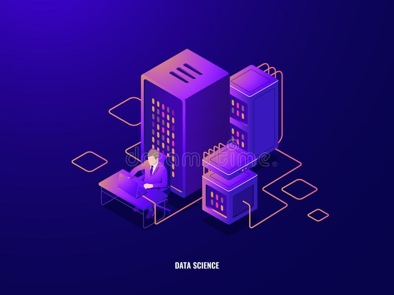 Data research isometric icon, information analyzing and big data processing, artificial intelligence ai, magnifying vector illustration