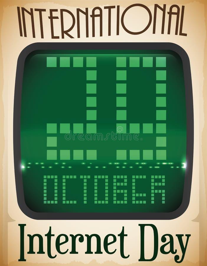 Data retro do tela de computador e do lembrete para o dia do Internet, ilustração do vetor ilustração do vetor