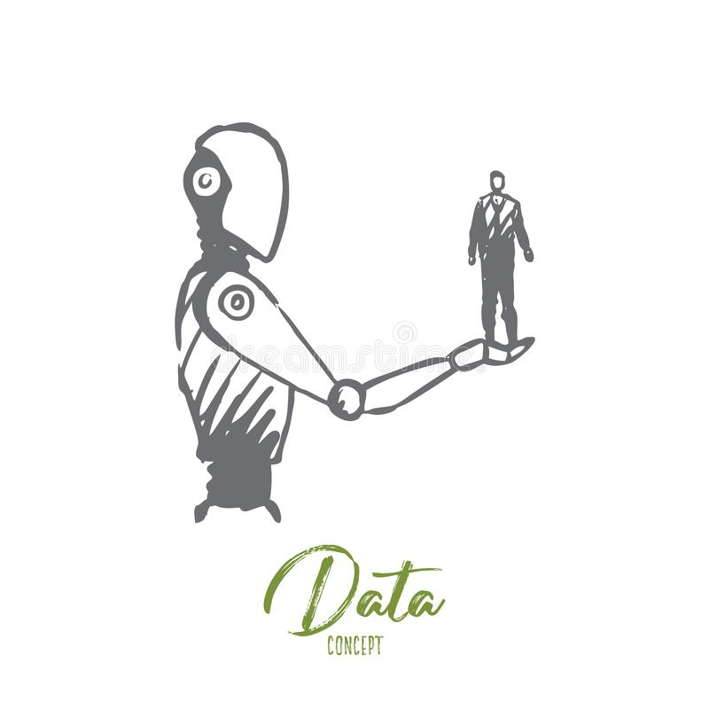 Data, robot, technology, machine, intelligence concept. Hand drawn isolated vector. Data, robot, technology, machine, intelligence concept. Hand drawn human on vector illustration