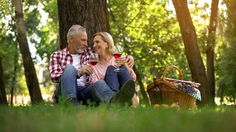 Data romântica dos pares superiores que sentam-se na grama e no vinho bebendo, aniversário imagens de stock