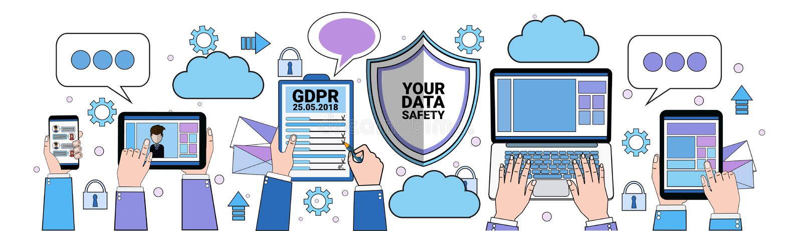 Data safety cloud shield tablet padlock over synchronization General Data Protection Regulation GDPR server security royalty free illustration