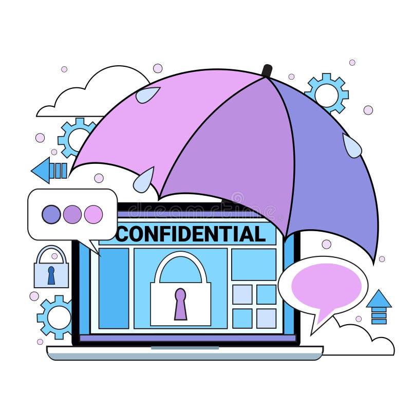 Data safety cloud shield tablet padlock umbrella over synchronization General Data Protection Regulation GDPR server royalty free illustration