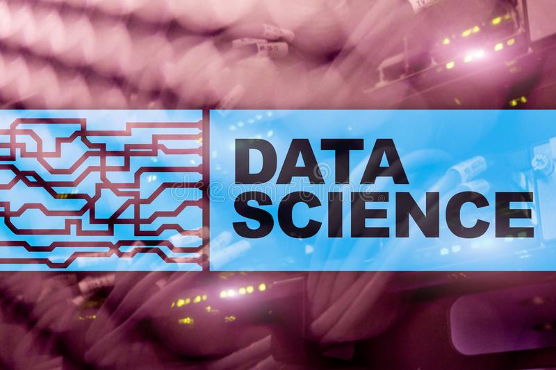 Data Science Artificial Intelligence Concept. Futuristic Supercomputer background.  royalty free stock images