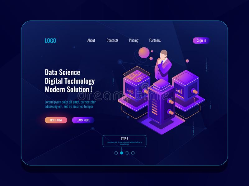 Data science, big data processing, server room, database and data center concpet, isometric icon, data analysis and. Statistic report dark neon vector stock illustration