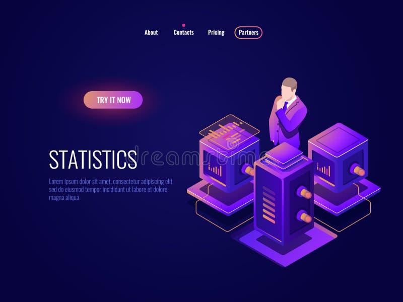 Data science, big data processing isometric icon, data base datacenter concept, programm information analysing, server. Room dark neon vector stock illustration