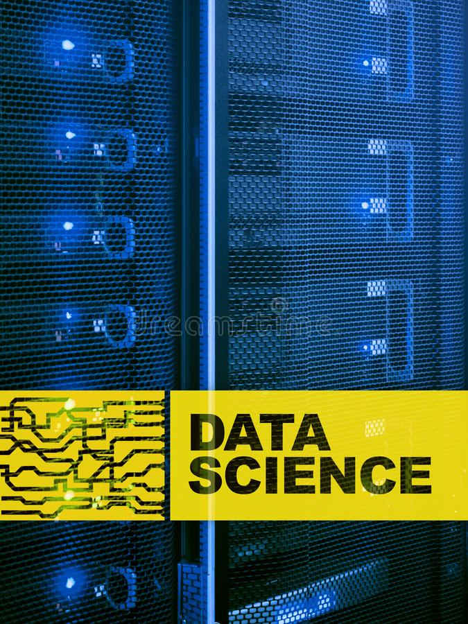 Data science, business, internet and technology concept on server room background.  royalty free illustration