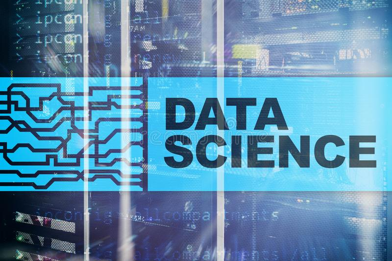 Data science, business, internet and technology concept on server room background.  vector illustration