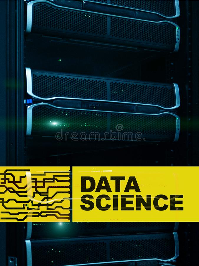 Data science, business, internet and technology concept on server room background.  stock illustration