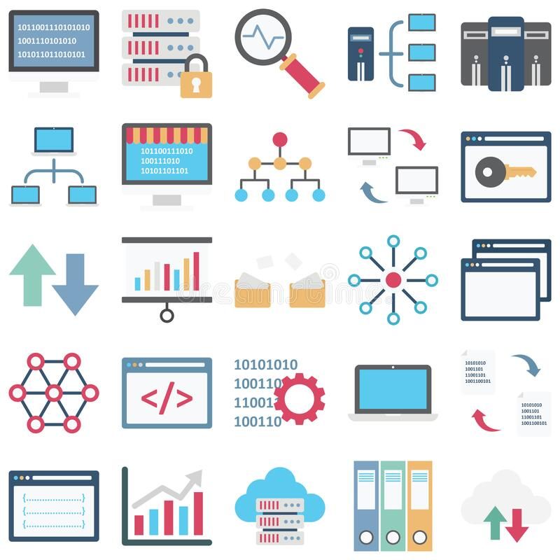 Data Science Color Isolated Vector icons set every single icon can easily modify or edit vector illustration