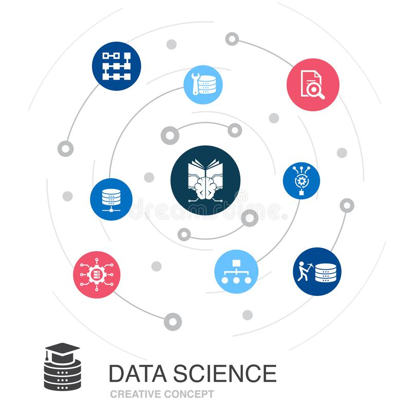 Data Science colored circle concept with vector illustration